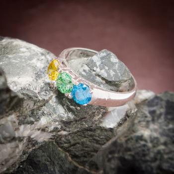 แหวนพลอยสามเม็ด แหวนเงินแท้ เขียวมรกต #2