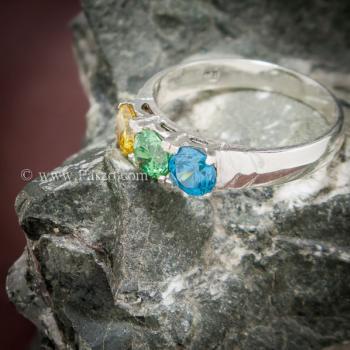 แหวนพลอยสามเม็ด แหวนเงินแท้ เขียวมรกต #5
