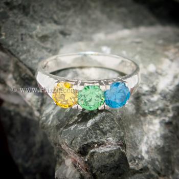 แหวนพลอยสามเม็ด แหวนเงินแท้ เขียวมรกต #4