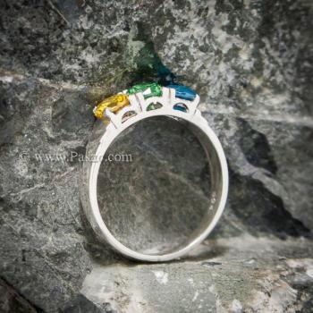 แหวนพลอยสามเม็ด แหวนเงินแท้ เขียวมรกต #3