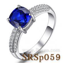 แหวนพลอยไพลิน ชุดสะพานดาว แหวนเงินแท้ พลอยสีน้ำเงิน เม็ดสี่เหลี่ยม บ่าแหวนฝังเพชร