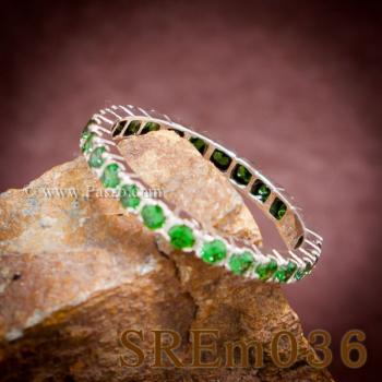 แหวนมรกต ฝังพลอยรอบวง แหวนเงินแท้ #5
