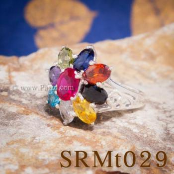 แหวนพลอยเก้าสี แหวนดอกพิกุล แหวนเงินแท้ #3