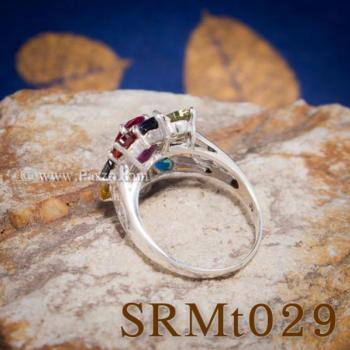 แหวนพลอยเก้าสี แหวนดอกพิกุล แหวนเงินแท้ #4