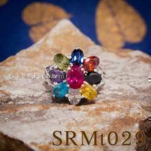 แหวนพลอยเก้าสี แหวนดอกพิกุล แหวนเงินแท้