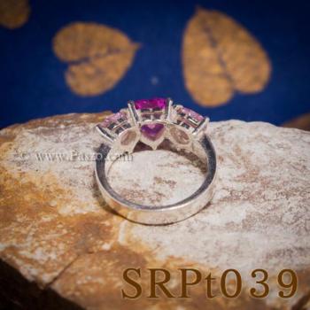 แหวนพลอยชมพู แหวนหัวใจ พลอยสามเม็ด #4