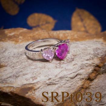 แหวนพลอยชมพู แหวนหัวใจ พลอยสามเม็ด #2