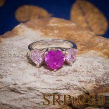 แหวนพลอยชมพู แหวนหัวใจ พลอยสามเม็ด แหวนพลอยสีชมพู แหวนเงิน