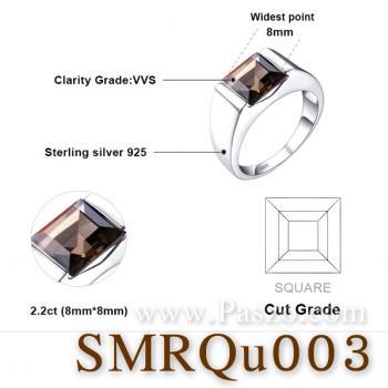 แหวนผู้ชาย แหวนผู้ชายพลอยสี่เหลี่ยม พลอยสโมกกี้ควอตซ์ #5