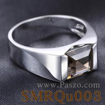 แหวนผู้ชาย แหวนผู้ชายพลอยสี่เหลี่ยม พลอยสโมกกี้ควอตซ์ #3