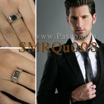 แหวนผู้ชาย แหวนผู้ชายพลอยสี่เหลี่ยม พลอยสโมกกี้ควอตซ์ #4