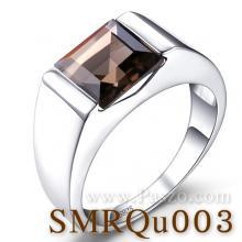 แหวนผู้ชาย แหวนผู้ชายพลอยสี่เหลี่ยม พลอยสโมกกี้ควอตซ์ แหวนเงินแท้