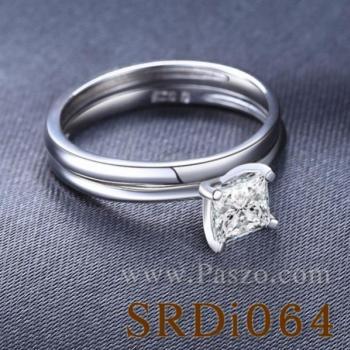 แหวนเพชร เม็ดสี่เหลี่ยม แหวนคู่ #4