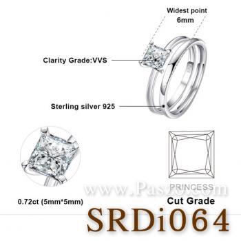 แหวนเพชร เม็ดสี่เหลี่ยม แหวนคู่ #3