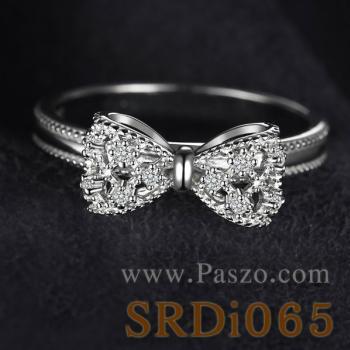 แหวนโบว์ แหวนเพชร แหวนเงินแท้ #2