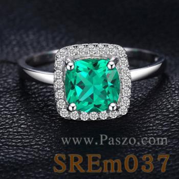 แหวนพลอยสีเขียว เม็ดสี่เหลี่ยม แหวนมรกต #3