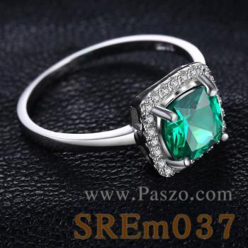 แหวนพลอยสีเขียว เม็ดสี่เหลี่ยม แหวนมรกต #2