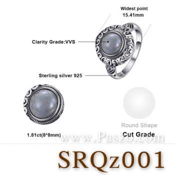 แหวนสไตล์คลาสสิก หินลาบราดอไรต์ หินแห่งดวงตาที่สาม #4