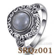 แหวนสไตล์คลาสสิก หินลาบราดอไรต์ หินแห่งดวงตาที่สาม แหวนเงินแท้
