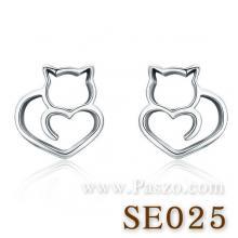 ต่างหูแมว ต่างหูรูปหัวใจ ต่างหูเงิน ต่างหูแฟชั่น แมวหัวใจ
