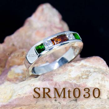 แหวนแถว แหวนเงิน ฝังโกเมน #6