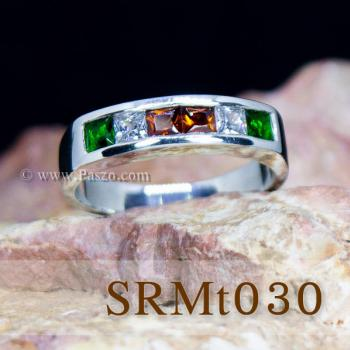 แหวนแถว แหวนเงิน ฝังโกเมน #5