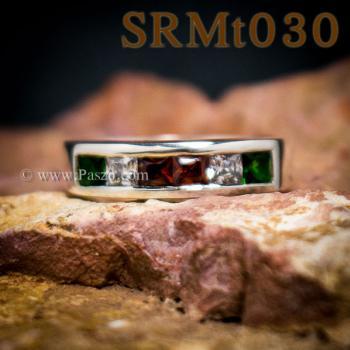 แหวนแถว แหวนเงิน ฝังโกเมน #4