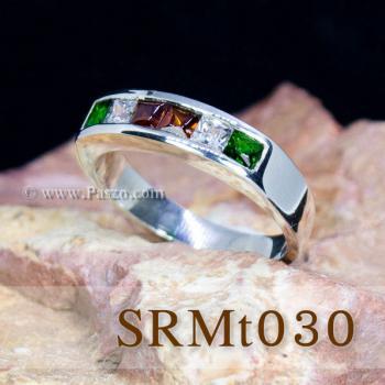 แหวนแถว แหวนเงิน ฝังโกเมน #7
