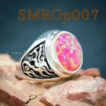 แหวนมังกร แหวนโอปอล แหวนผู้ชายเงินแท้ ฝังพลอยโอปอล์ แหวนผู้ชาย รมดำ