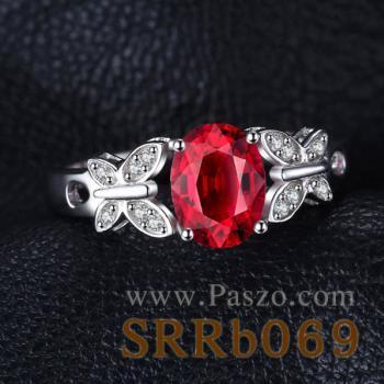 แหวนพลอยทับทิม ประดับเพชร รูปผีเสื้อ #3