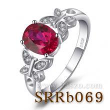 แหวนพลอยทับทิม ประดับเพชร รูปผีเสื้อ แหวนเงินแท้ พลอยสีแดง