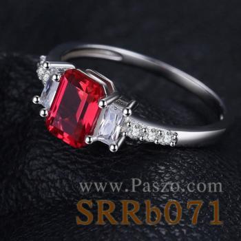 แหวนพลอยทับทิม พลอยสี่เหลี่ยม ประดับเพชร #2