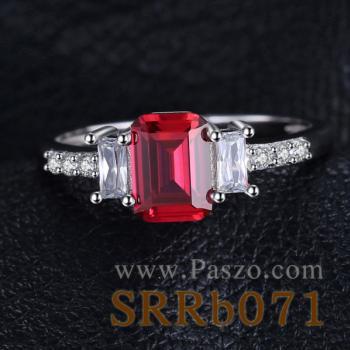 แหวนพลอยทับทิม พลอยสี่เหลี่ยม ประดับเพชร #3