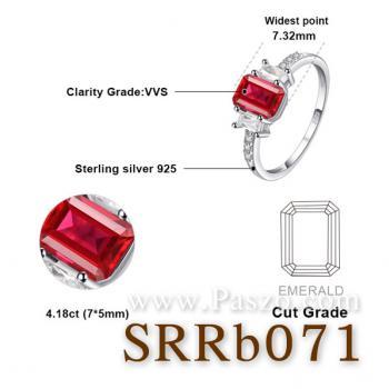 แหวนพลอยทับทิม พลอยสี่เหลี่ยม ประดับเพชร #4