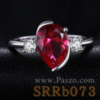 แหวนพลอยทับทิม พลอยหยดน้ำ ประดับเพชร #2