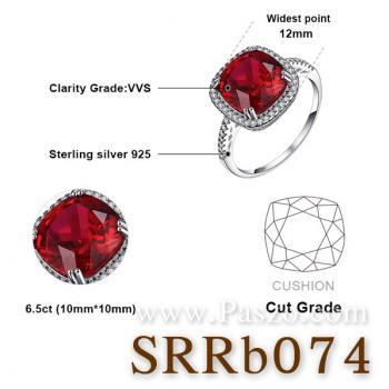 แหวนพลอยทับทิม พลอยสี่เหลี่ยม ล้อมเพชร #5
