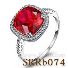 แหวนพลอยทับทิม พลอยสี่เหลี่ยม ล้อมเพชร แหวนเงินแท้