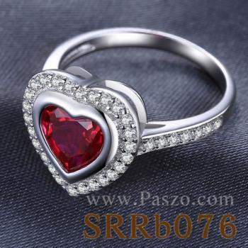 แหวนพลอยทับทิม พลอยรูปหัวใจ ล้อมเพชร #3