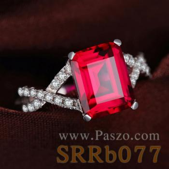 แหวนพลอยทับทิม เม็ดสี่เหลี่ยม ประดับเพชร #3