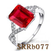 แหวนพลอยทับทิม เม็ดสี่เหลี่ยม ประดับเพชร แหวนเงินแท้
