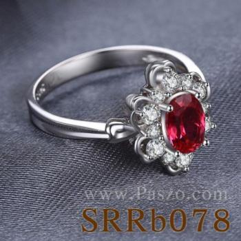 แหวนพลอยทับทิม แหวนล้อมเพชร แหวนเงินแท้ #2