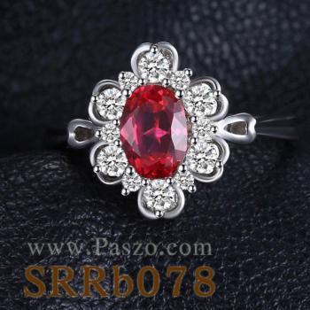 แหวนพลอยทับทิม แหวนล้อมเพชร แหวนเงินแท้ #4