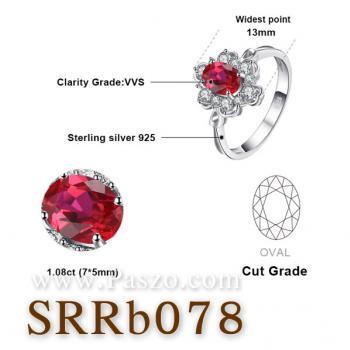 แหวนพลอยทับทิม แหวนล้อมเพชร แหวนเงินแท้ #5