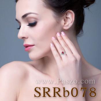 แหวนพลอยทับทิม แหวนล้อมเพชร แหวนเงินแท้ #3