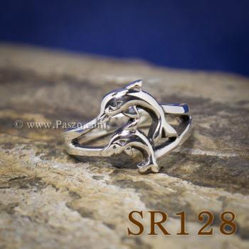 แหวนปลาโลมา แหวนโลมาคู่ แหวนเงินแท้ #4