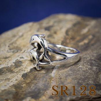 แหวนปลาโลมา แหวนโลมาคู่ แหวนเงินแท้ #3