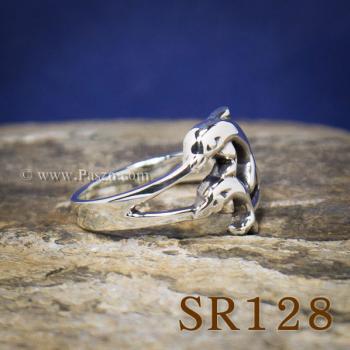 แหวนปลาโลมา แหวนโลมาคู่ แหวนเงินแท้ #2