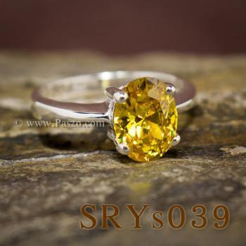 แหวนบุษราคัม แหวนเงิน ฝังพลอยสีเหลือง #4