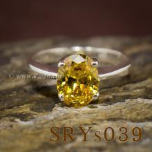 แหวนบุษราคัม แหวนเงิน ฝังพลอยสีเหลือง เม็ดเดี่ยว แหวนพลอยสีเหลือง