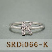 แหวนตัวเค แหวนตัวอักษร K แหวนเงิน ฝังเพชร แหวนเพชร
